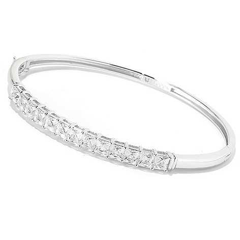 126-723 - TYCOON Platinum Embraced™ 7.30 DEW Simulated Diamond Hinged Bangle Bracelet