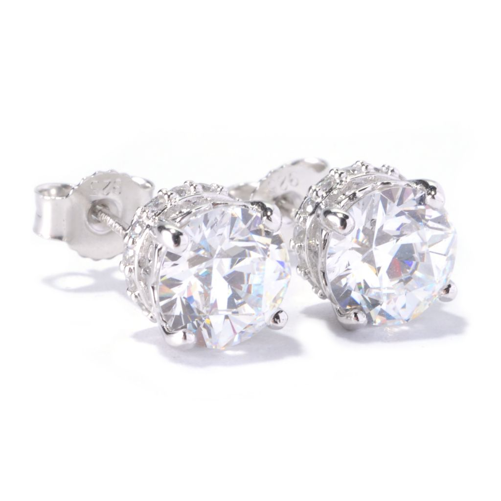 126-724 - TYCOON 3.68 DEW Round TYCOON CUT Simulated Diamond Stud Earrings