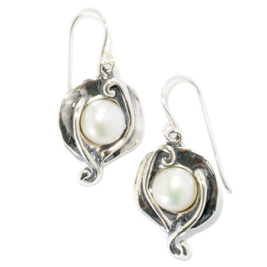 126-739 - Passage to Israel Sterling Silver 7.5-8.5mm  Freshwater Cultured Pearl Petal Earrings