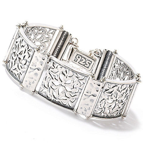 126-745 - Passage to Israel Sterling Silver 7'' Cut Out Flower Detail Bracelet, 36.5 grams