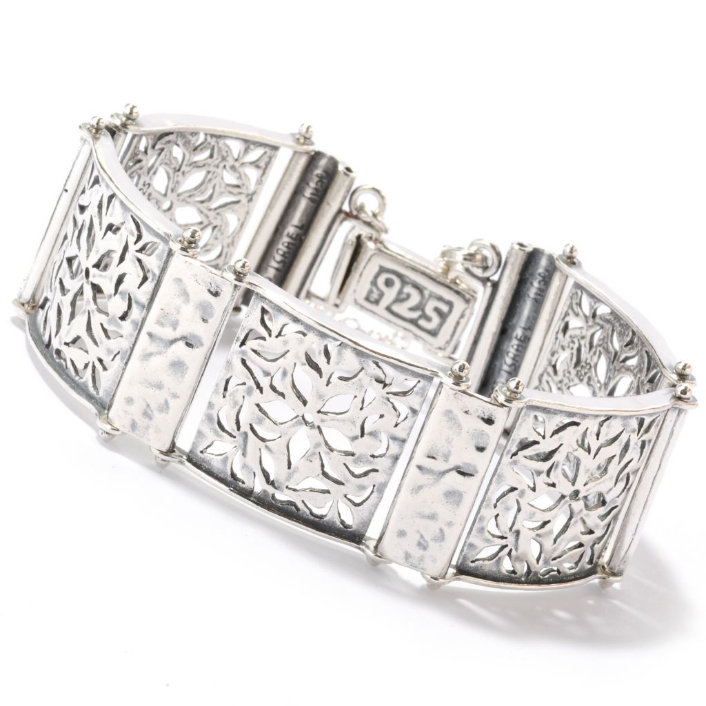 "126-745 - Passage to Israel Sterling Silver 7"" Cut-out Flower Bracelet, 35 grams"