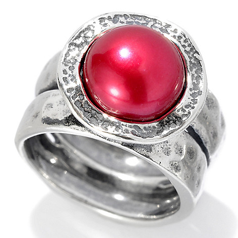 126-746 - Passage to Israel™ Sterling Silver 9.5-10.5mm Freshwater Cultured Pearl Hammered Ring