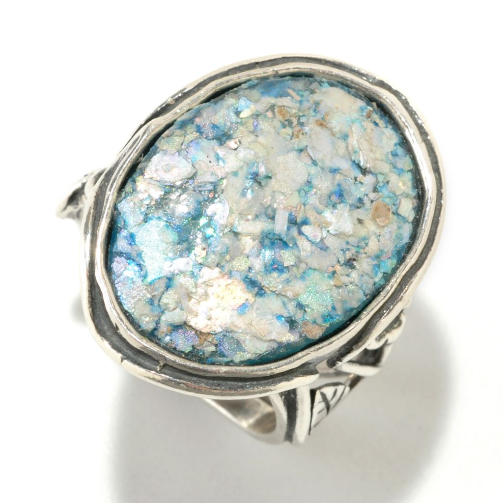 126-749 - Passage to Israel Sterling Silver Roman Glass Leaf Shank Ring