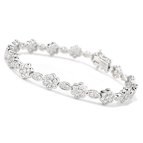 126-765 - Brilliante® Platinum Embraced™ Simulated Diamond Flower & Leaf Tennis Bracelet