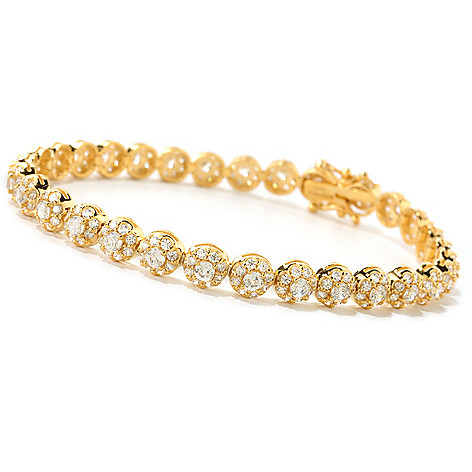 126-769 - Brilliante® Round Cut 100-Facet Simulated Diamond Halo Line Bracelet