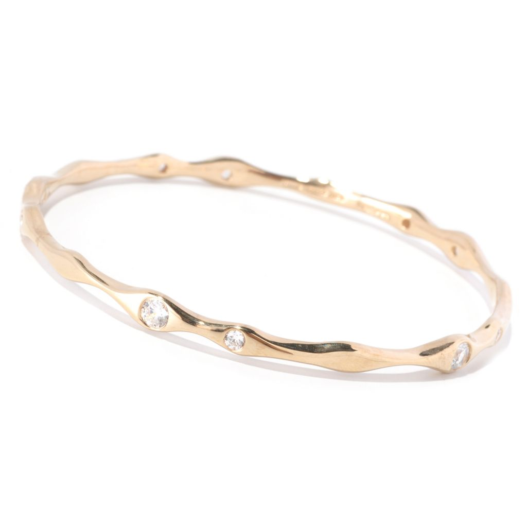 126-776 - Sonia Bitton Burnished Set Simulated Diamond Wavy Slip-on Bangle Bracelet
