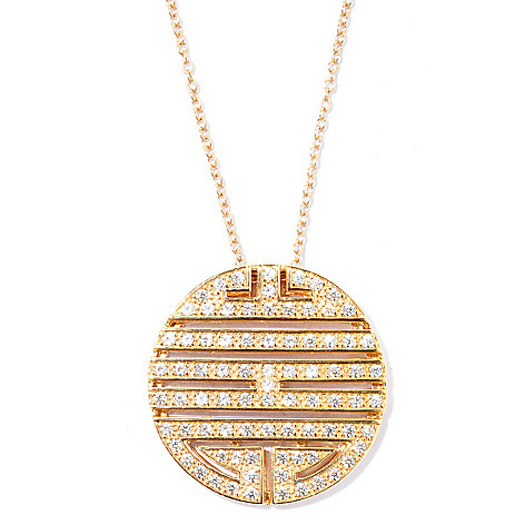 126-777 - Sonia Bitton 2.87 DEW Simulated Diamond Tribal Disk Pendant w/ 18'' Chain
