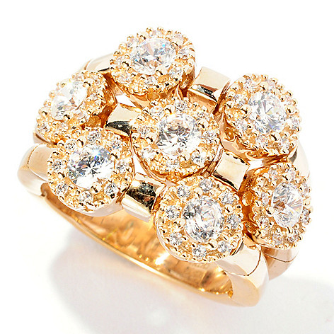 126-779 - Sonia Bitton 1.85 DEW Round Cut Simulated Diamond Three-Row Dream Fit™ Ring