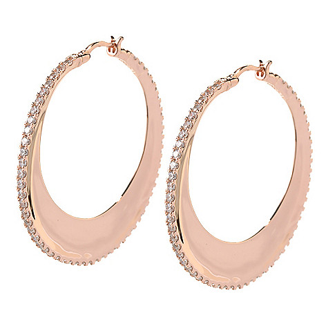 126-782 - Sonia Bitton 3.42 DEW Round Cut Simulated Diamond High Polished 1.75'' Hoop Earrings
