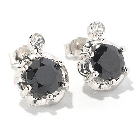 126-837 - Gem Treasures Sterling Silver 2.06ctw Black Spinel & White Topaz Post Earrings