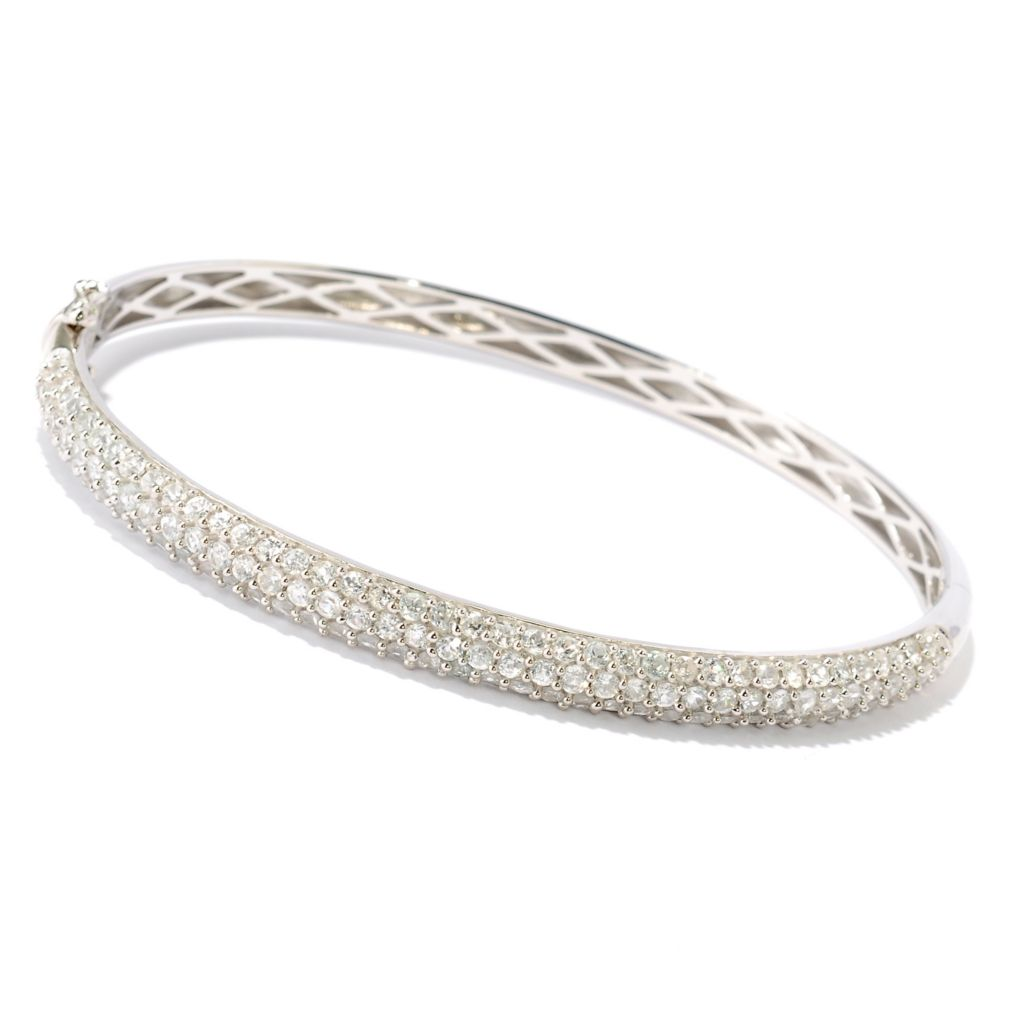 126-840 - Gem Treasures Sterling Silver 4.54ctw Pave Set Zircon Bangle Bracelet