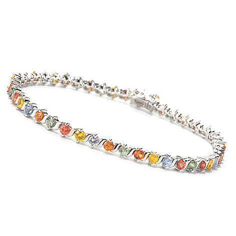 126-841 - Gem Treasures® Sterling Silver Multi Color Sapphire Bracelet