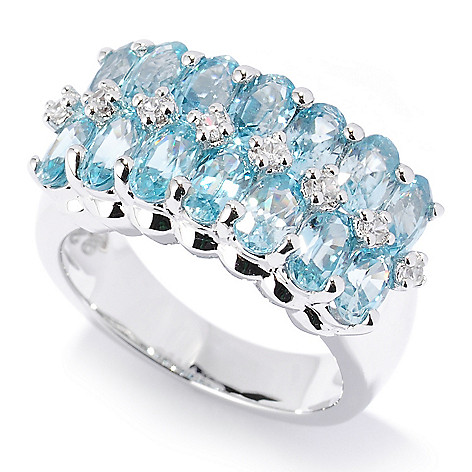126-844 - NYC II 5.53ctw Blue Zircon & White Zircon Band Ring