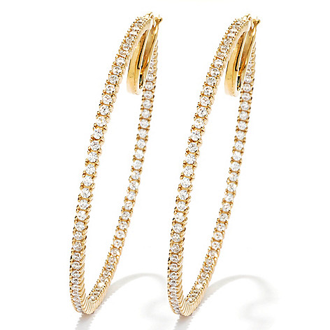 126-913 - Brilliante® 2'' 2.96 DEW Simulated Diamond Inside-Out Hoop Earrings