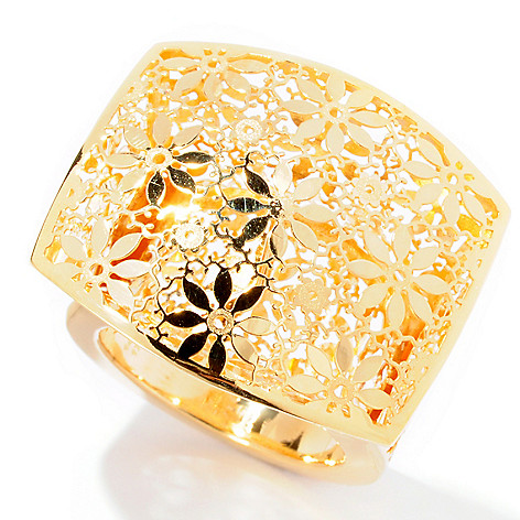 126-927 - Italian Designs with Stefano 14K Gold Square Top Ricami Ring