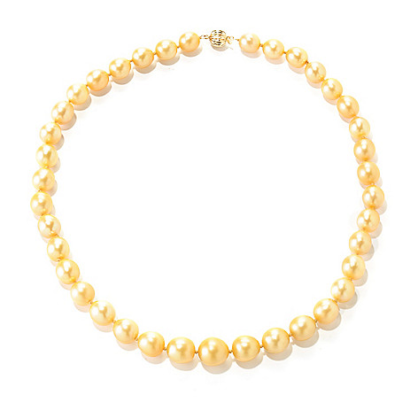 126-941 - 14K Gold 18'' 9-11mm Round Golden South Sea Cultured Pearl Necklace