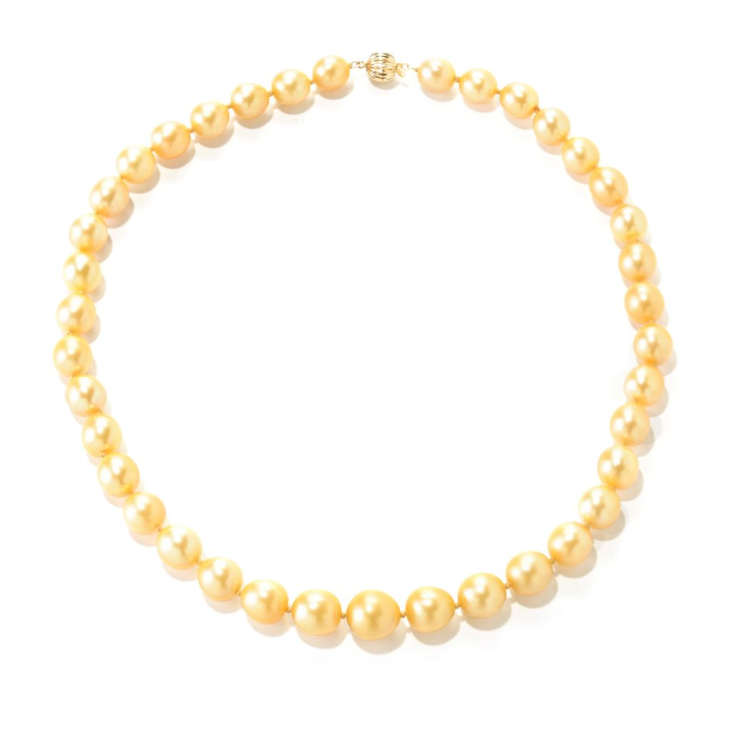 "126-941 - 14K Gold 18"" 9-11mm Round Golden South Sea Cultured Pearl Necklace"