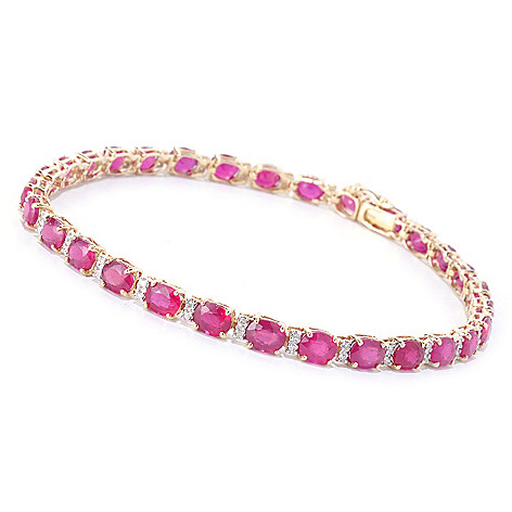 126-959 - EFFY 14K Gold Oval Gemstone & Diamond Link Bracelet