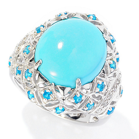 126-978 - Gem Insider Sterling Silver 14 x 12mm Oval Sleeping Beauty Turquoise, Apatite & Diamond Ring