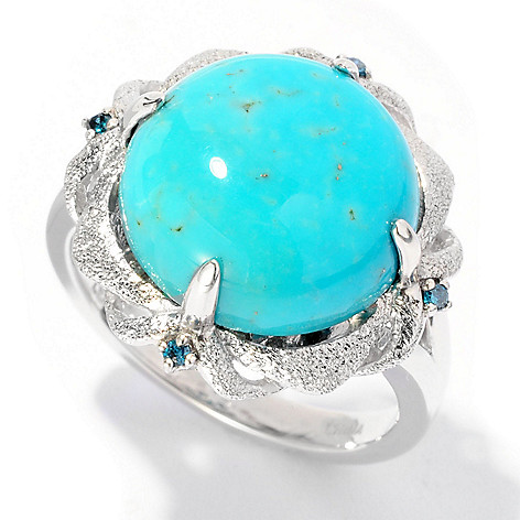 126-981 - Gem Insider Sterling Silver 13mm Turquoise & Blue Diamond Textured Ring