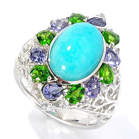 126-987 - Gem Insider™ Sterling Silver 13 x 9mm Oval Amazonite & Gemstone Ring