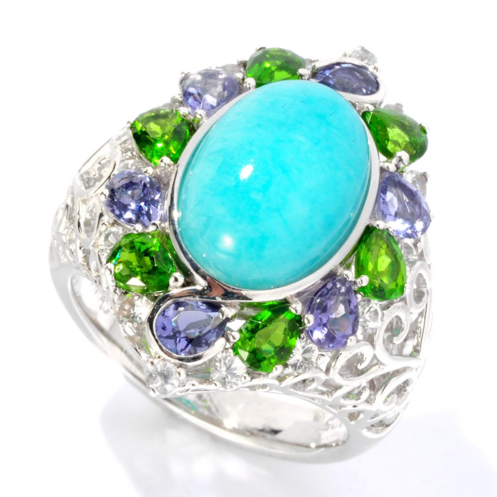 126-987 - Gem Insider Sterling Silver 13 x 9mm Oval Amazonite & Gemstone Ring