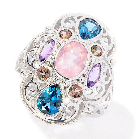 126-991 - Gem Insider Sterling Silver 2.79ctw Oval Rose Quartz & Gemstone Ring