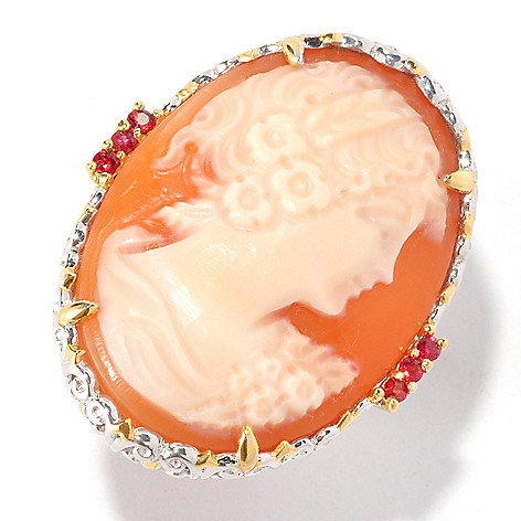 126-995 - Gems en Vogue II 30 x 22mm Hand-Carved Shell Cameo & Sapphire Ring