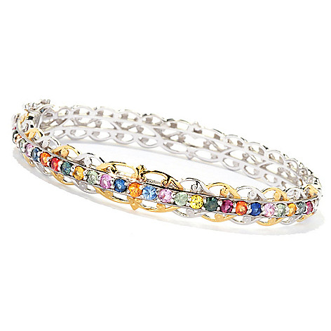 126-997 - Gems en Vogue 2.08ctw Multi Sapphire Hinged Bangle Bracelet