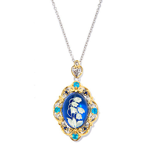 126-999 - Gems en Vogue 18 x 13mm Carved Amber, Neon Apatite & Sapphire Pendant w/ Chain