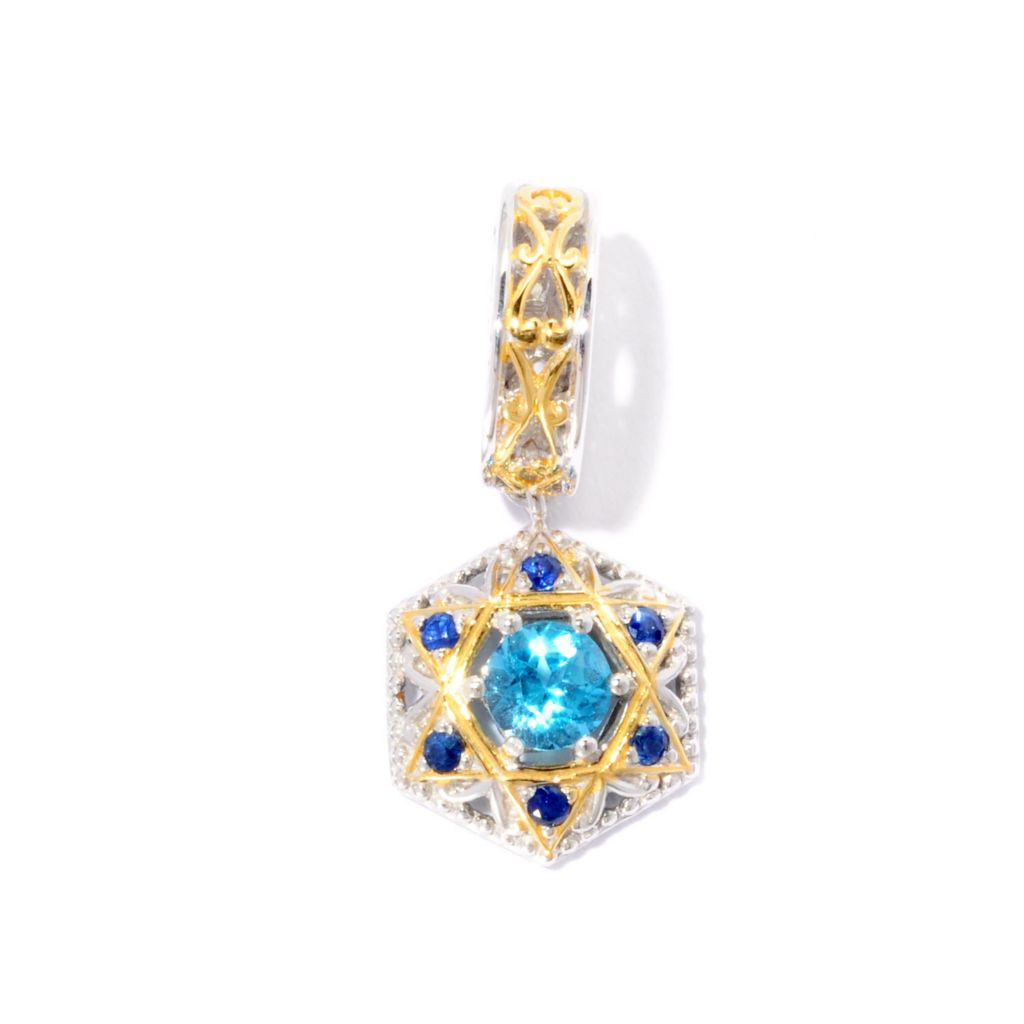 127-004 - Gems en Vogue 1.81ctw Topaz & Sapphire Star of David Drop Charm