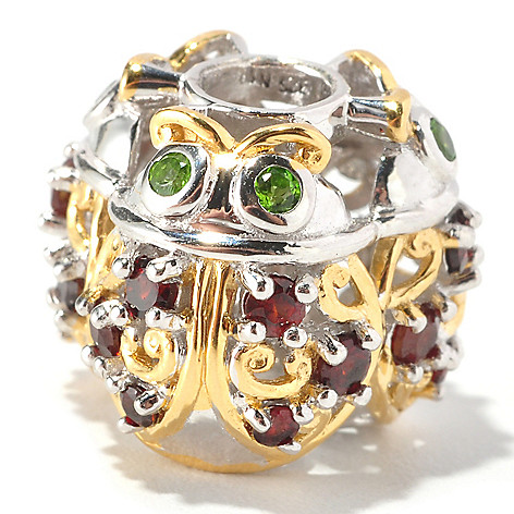 127-005 - Gems en Vogue Garnet & Chrome Diopside Ladybug Charm