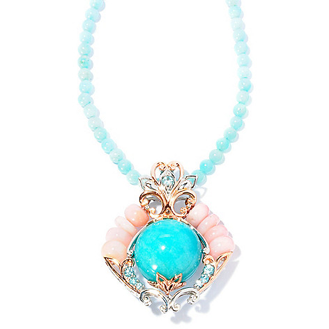 127-012 - Gems en Vogue 20mm Peruvian Amazonite & Pink Opal Enhancer w/ 18'' Necklace