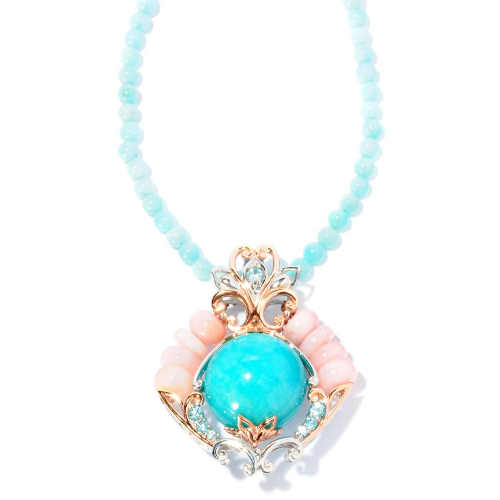 "127-012 - Gems en Vogue 20mm Peruvian Amazonite & Pink Opal Enhancer w/ 18"" Necklace"