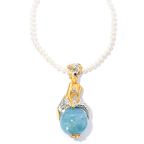 127-031 - Gems en Vogue 20mm Aquamarine & Sapphire ''Art Nouveau'' Mermaid Pendant