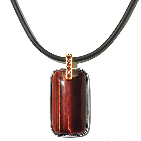 127-032 - Men's en Vogue II 40 x 22mm Tiger Eye & Garnet Pendant w/ Rubber Cord