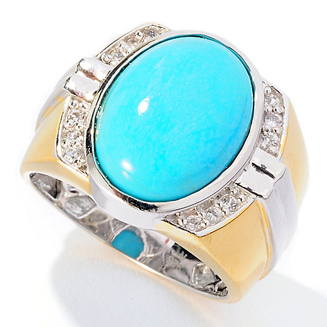 127-039 - Men's en Vogue 16 x 12mm Turquoise & White Sapphire Ring