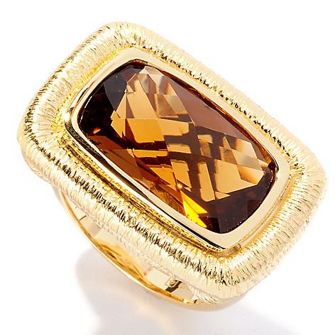 127-058 - Michelle Albala 8.28ctw Checkerboard Cut Honey Citrine Ring