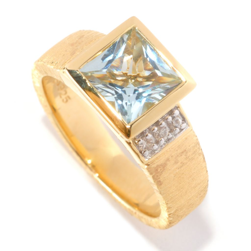 127-068 - Michelle Albala 1.20ctw Gemstone & White Sapphire Textured Band Ring