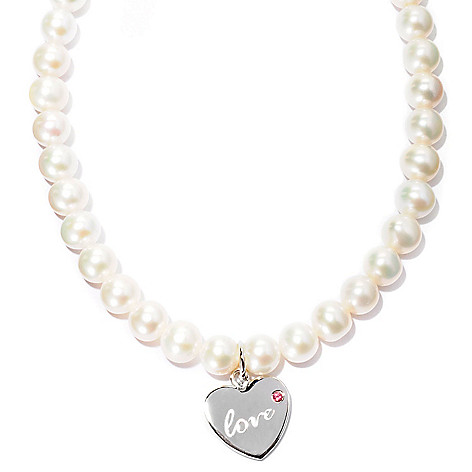 127-070 - Sterling Silver 18'' Freshwater Cultured Pearl & Gemstone Word Charm Necklace