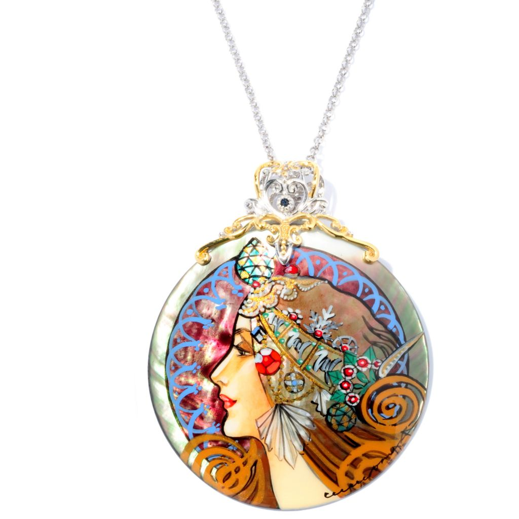 127-074 - Gems en Vogue II 50mm Hand-Painted Mother-of-Pearl Maiden Warrior Pendant w/ Chain