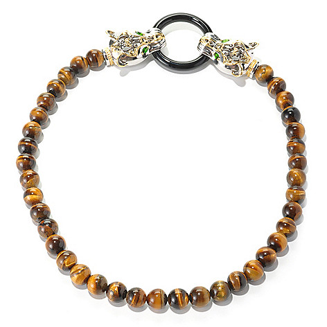 127-076 - Gems en Vogue II 10mm Tiger Eye, Chrome Diopside & Dyed Black Onyx Panther Necklace