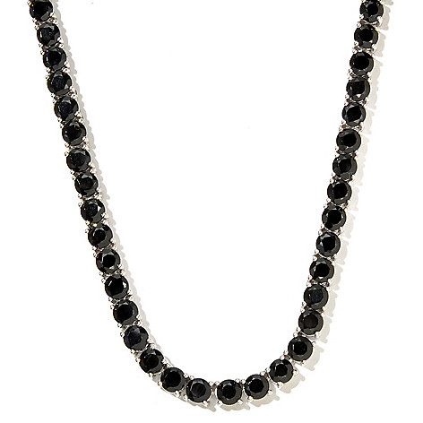 127-079 - Gem Treasures® Sterling Silver Black Spinel Tennis Necklace