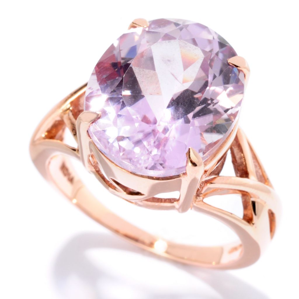 127-080 - Gem Treasures 14K Rose Gold 8.00ctw Oval Kunzite Interlaced Ring