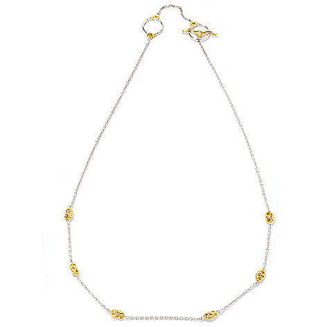 127-090 - Gems en Vogue II 20'' Two-tone Station Necklace w/ Toggle Clasp