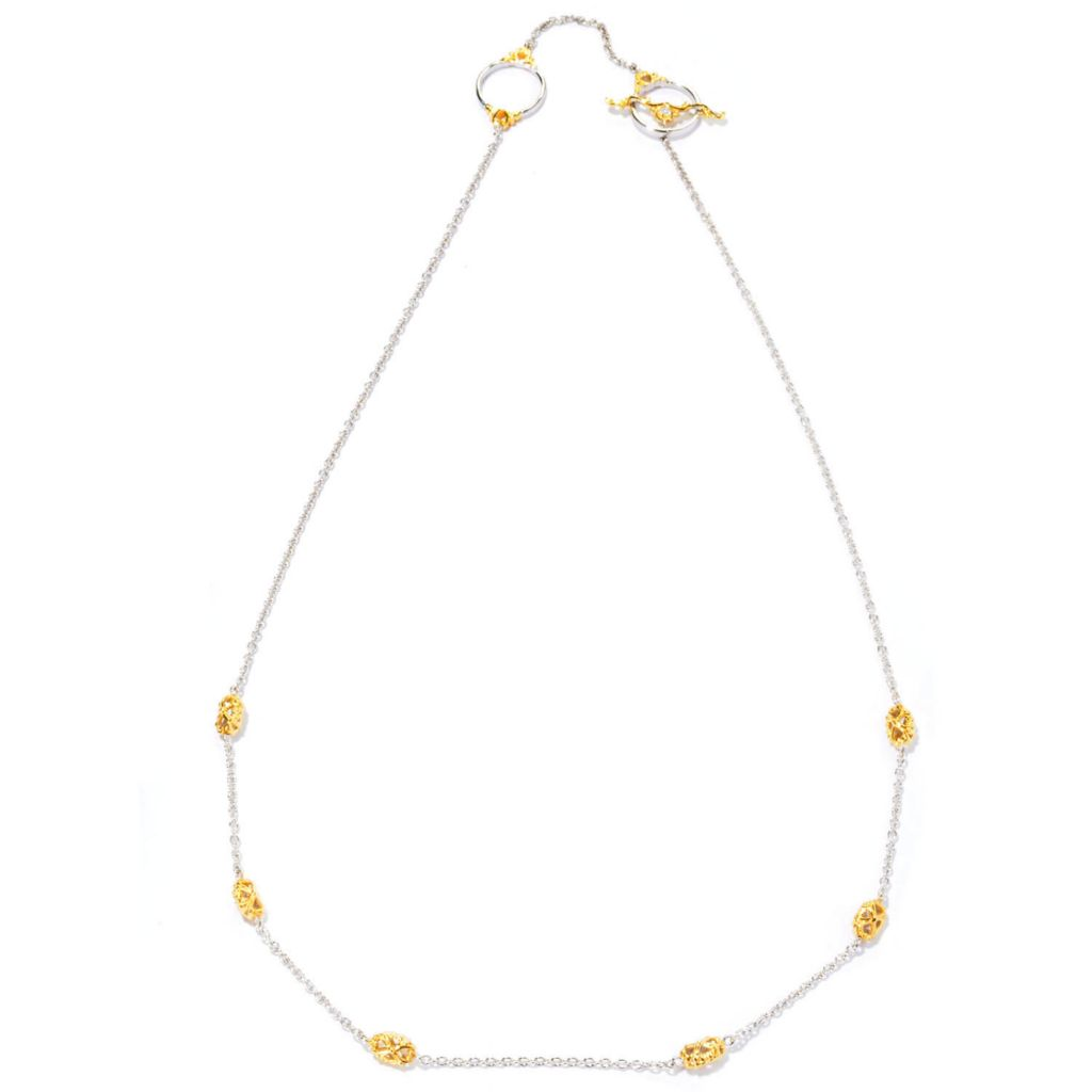"127-090 - Gems en Vogue II 20"" Two-tone Station Necklace w/ Toggle Clasp"