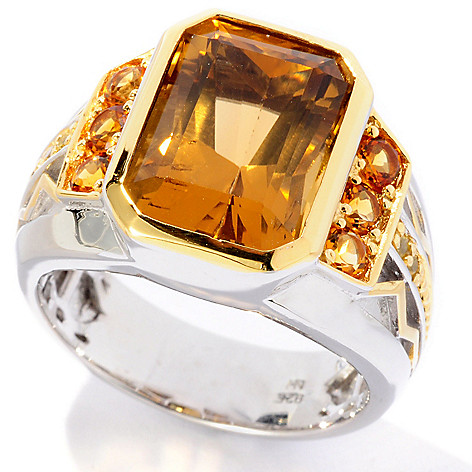 127-091 - Men's en Vogue 6.25ctw Whiskey Quartz, Madeira Citrine & Sapphire Ring