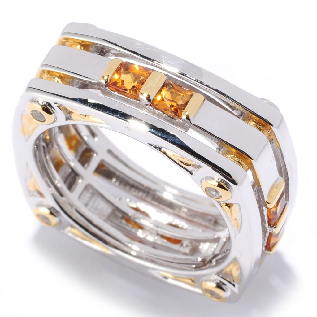 127-092 - Men's en Vogue II 1.52ctw Madeira Citrine & White Sapphire Eternity Band Ring
