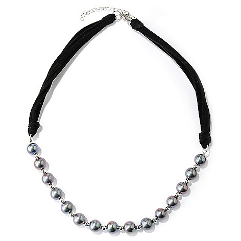127-101 -  Sterling Silver 18'' 9-9.5mm Semi- Round Freshwater Cultured Pearl & Suede Necklace