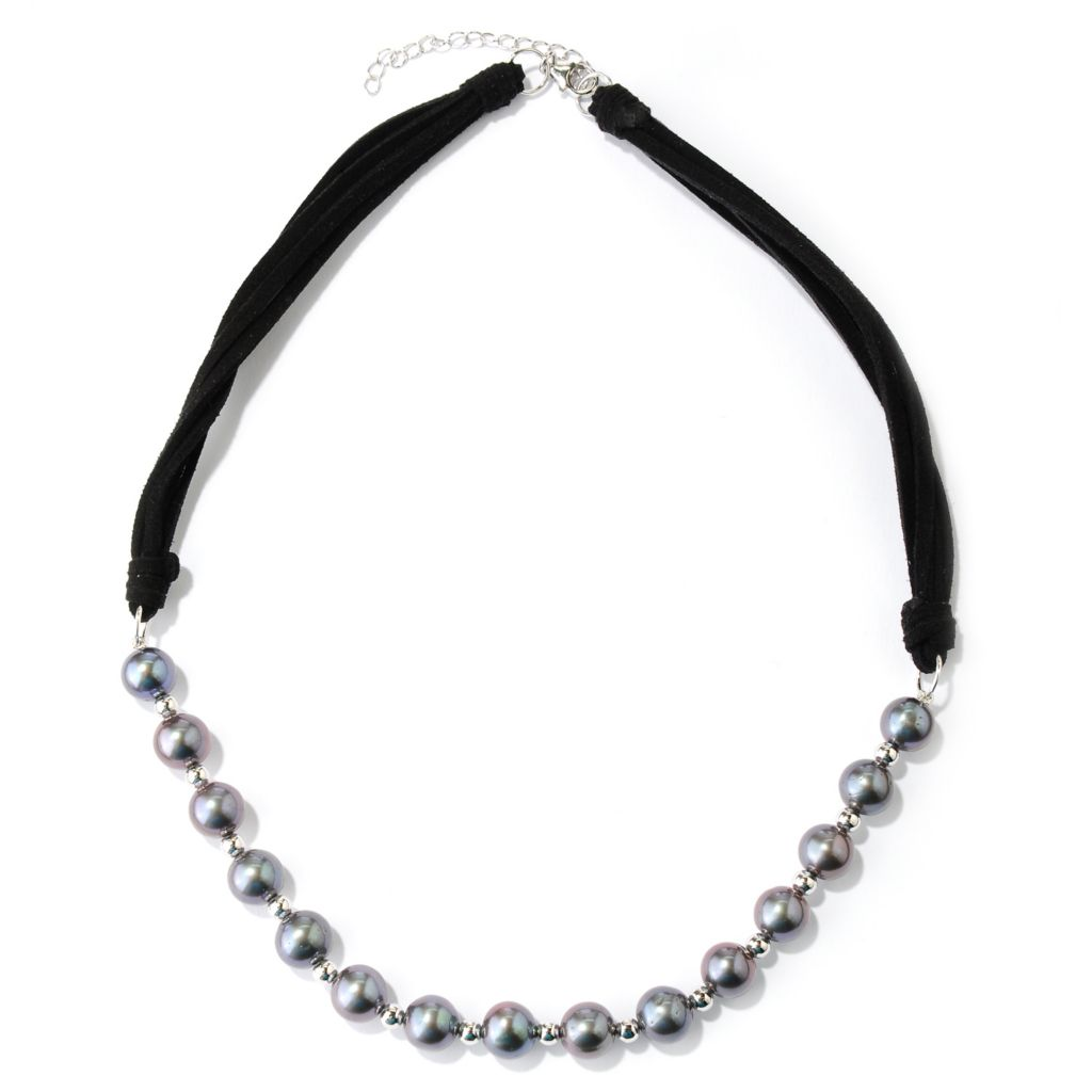 "127-101 -  Sterling Silver 18"" 9-9.5mm Semi- Round Freshwater Cultured Pearl & Suede Necklace"